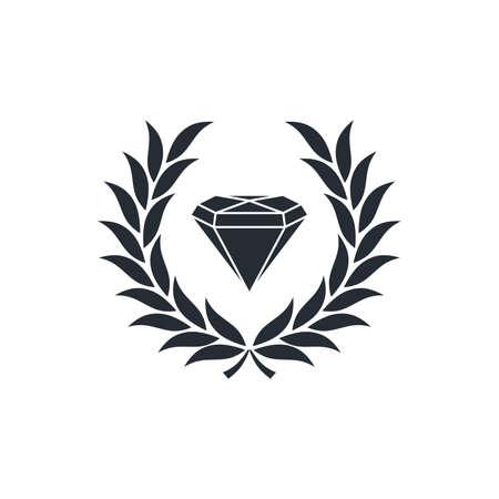 strong toughness: diamond inside wreath theme vector art illustration
