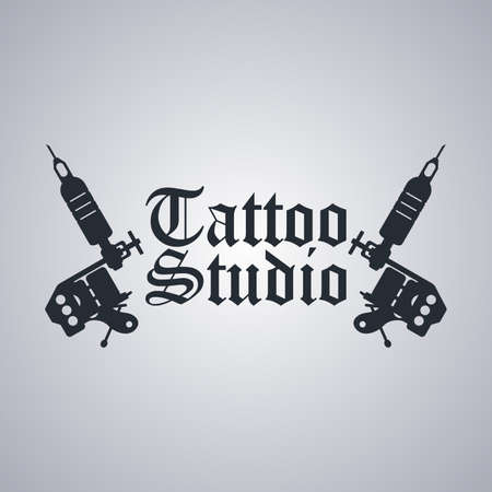 machine gun: tattoo machine art theme vector art illustration