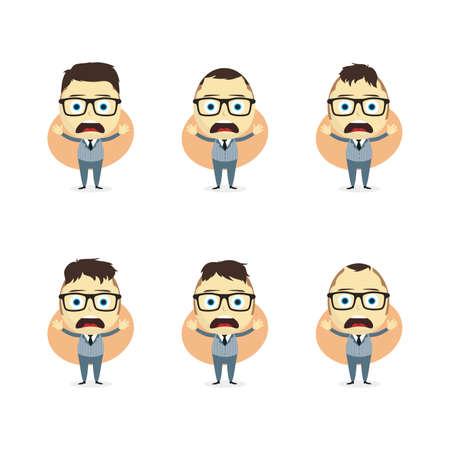 superacion personal: hombre de negocios de dibujos animados tema de establecer ilustraci�n de arte vectorial