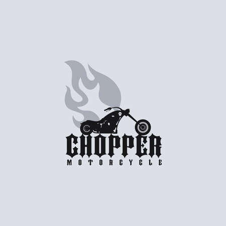engine flame: classic fire chopper motorcycle theme vector art illustration