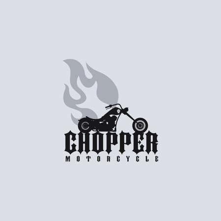 motorization: classic fire chopper motorcycle theme vector art illustration