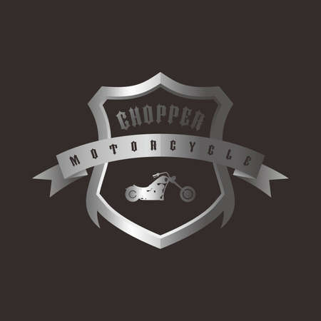 motorization: shiny silver shield chopper motorcycle vector art illustration