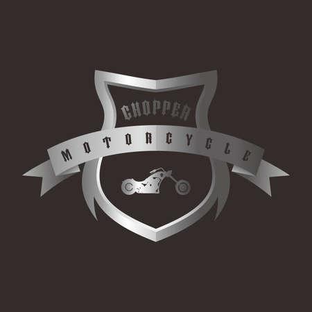 shiny shield: shiny silver shield chopper motorcycle vector art illustration