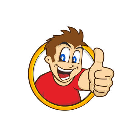 cartoon guy thumbs up character vector illustration Çizim