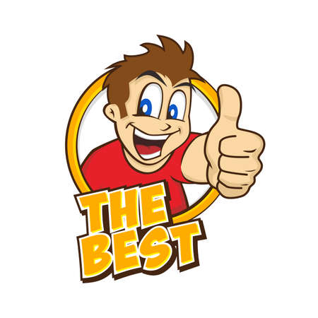 achievement clip art: cartoon guy thumbs up character vector illustration Illustration
