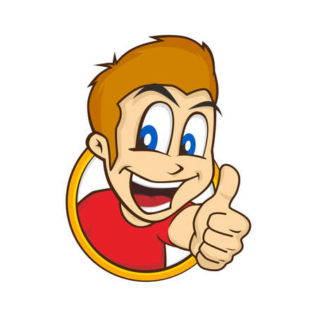 hyper: cartoon guy thumbs up character vector illustration Illustration