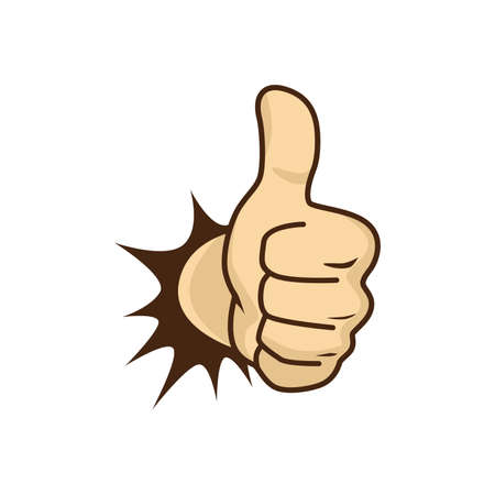 Thumbs up hand karakter vector illustratie