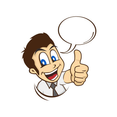cartoon guy thumbs up character vector illustration  イラスト・ベクター素材