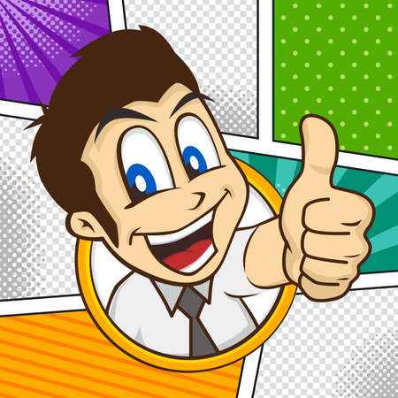 hyperactive: cartoon guy thumbs up character vector illustration Illustration