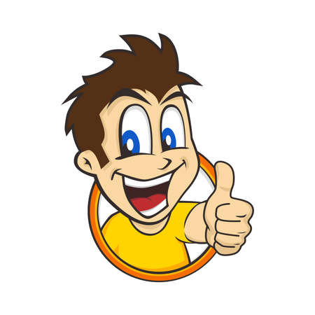 cartoon guy thumbs up character vector illustration Иллюстрация