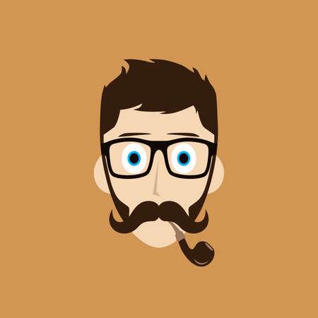 smoker: pipe smoker guy cartoon theme vector art illustration Illustration