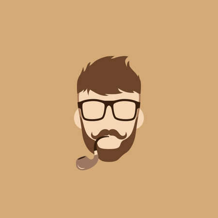 aristocratic: tobacco pipe hipster guy theme vector art illustration