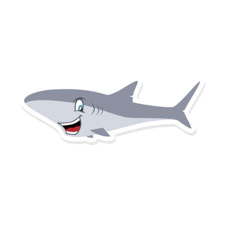 漫画かわいいサメ魚テーマ ベクトル アート イラスト