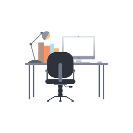 netbook: study and work desk theme vector art illustration