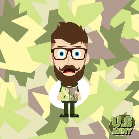 troop: army camouflage cartoon guy