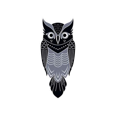 装飾的なフクロウ鳥テーマ ベクトル アート イラスト  イラスト・ベクター素材