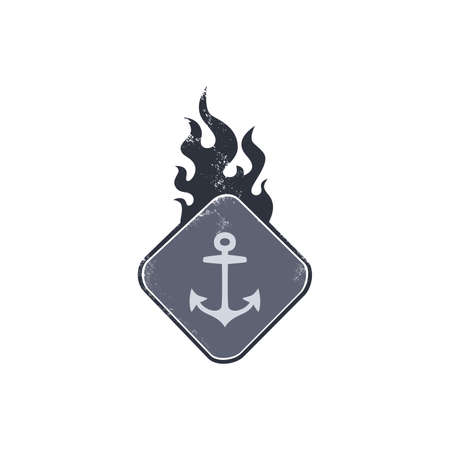 anchor man: anchor sailor sign on fire vector illustration Illustration