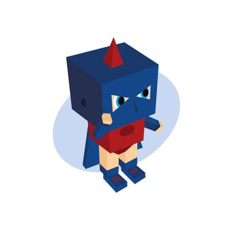 the protector: little hero block cartoon theme vector art illustration