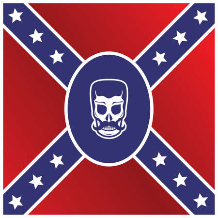 flag template: man skull flag template theme vector art illustration Illustration