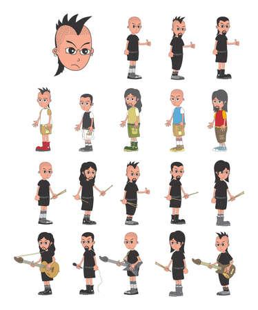 middle aged man: cartoon character avatar vector graphic art illustration Illustration