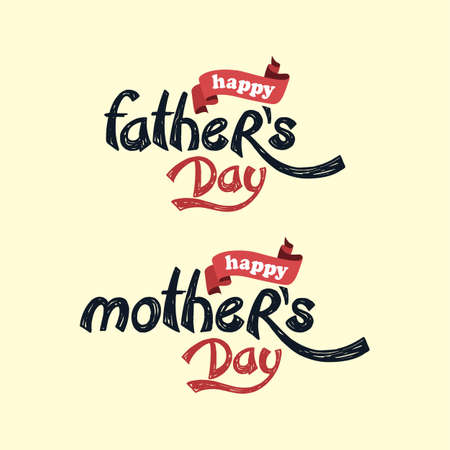 father: happy mother father day theme vector art illustration