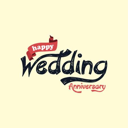 happy wedding: happy wedding anniversary theme vector art illustration Illustration
