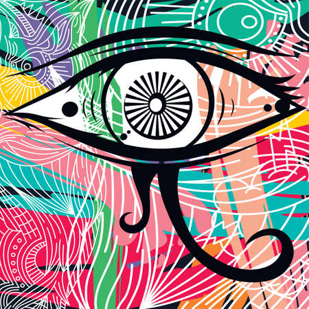 illuminati: horus eye abstract art theme vector illustration