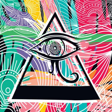 horus: horus eye abstract art theme vector illustration