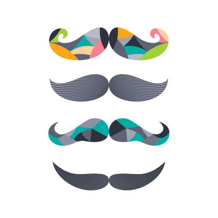 tough man: retro hipster mustache theme vector art illustration