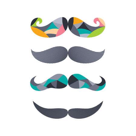 tough man: retro hipster mustache theme vector art illustration