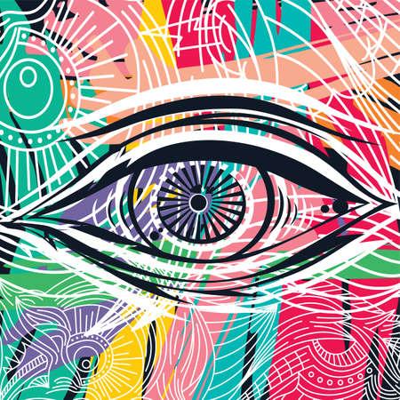 horus eye abstract art theme vector illustration