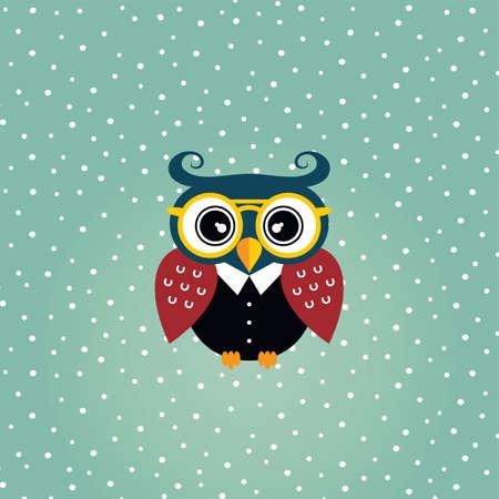 nocturnal: cool owl art theme vector graphic illustration Illustration