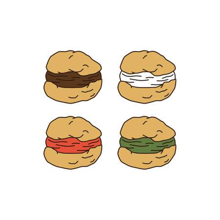 puff pastry: cream puff cake pastry theme vector art illustration