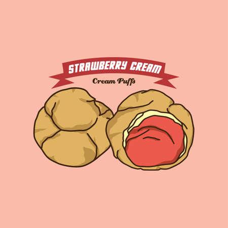 cream filled: cream puff cake pastry theme vector art illustration