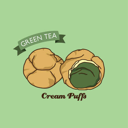 cream filled: cream puff cake pastry theme vector art illustration