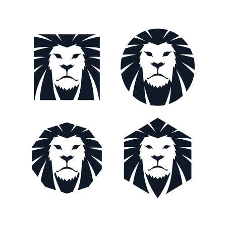 lion dessin: t�te de lion mod�le ic�ne de th�me vector art illustration