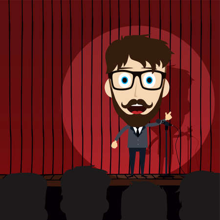 comedy: stand up comedy cartoon theme vector illustration