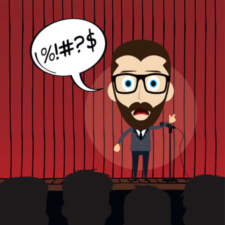 the showman: stand up comedy cartoon theme vector illustration