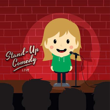 comedia de pie de dibujos animados del vector del tema Ilustración de vector
