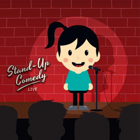 comedia de pie de dibujos animados del vector del tema