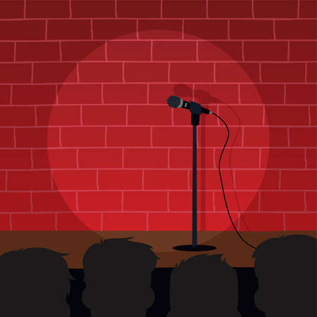 stand up comedy cartoon thema vector illustratie Stock Illustratie