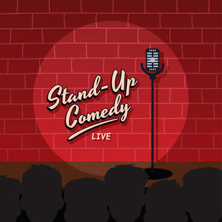 stand up comedy cartoon theme vector illustration