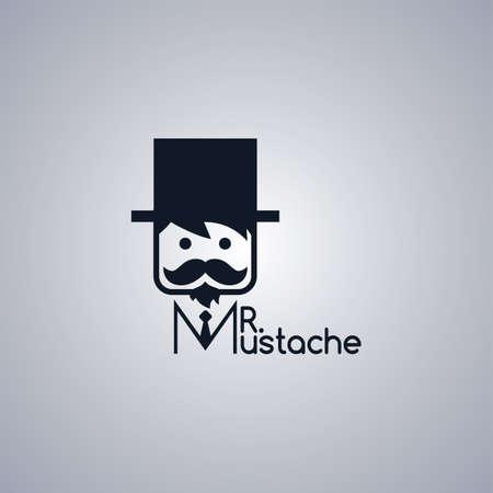 whisker characters: adorable mustache guy theme vector art illustration