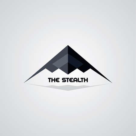 rectilinear: stealth ship logo template vector art illustration Illustration