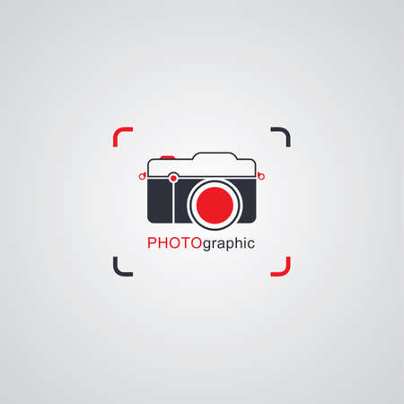 photography logo: camera photography logo template theme vector art illustration