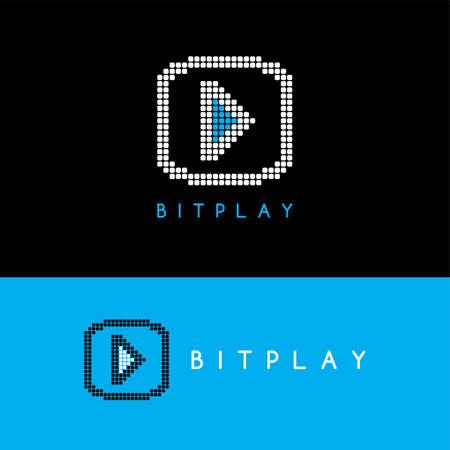 rt: pixel art play media button theme vector illustration