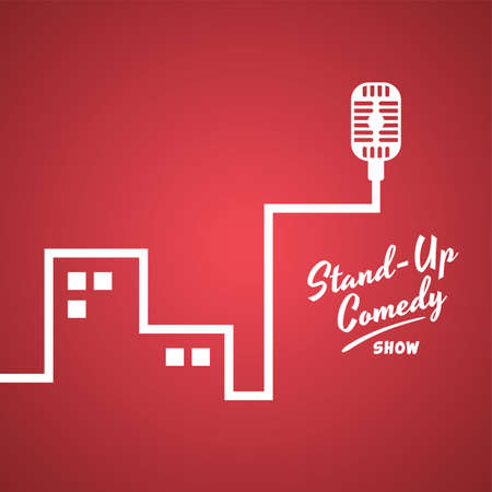 showman: stand up comedy cartoon theme vector illustration