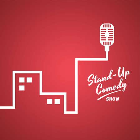 stand up comedy illustrazione a tema cartoon