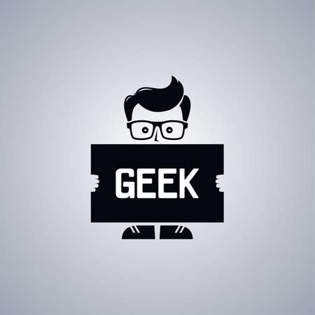 bog: geek nerd guy cartoon character theme vector illustration Illustration