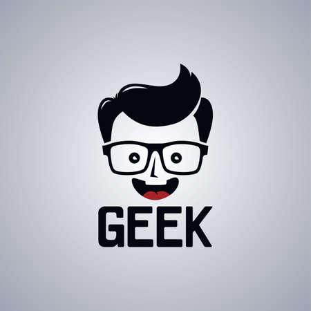 geek: friki chico empoll�n personaje de dibujos animados de la ilustraci�n del vector del tema Vectores
